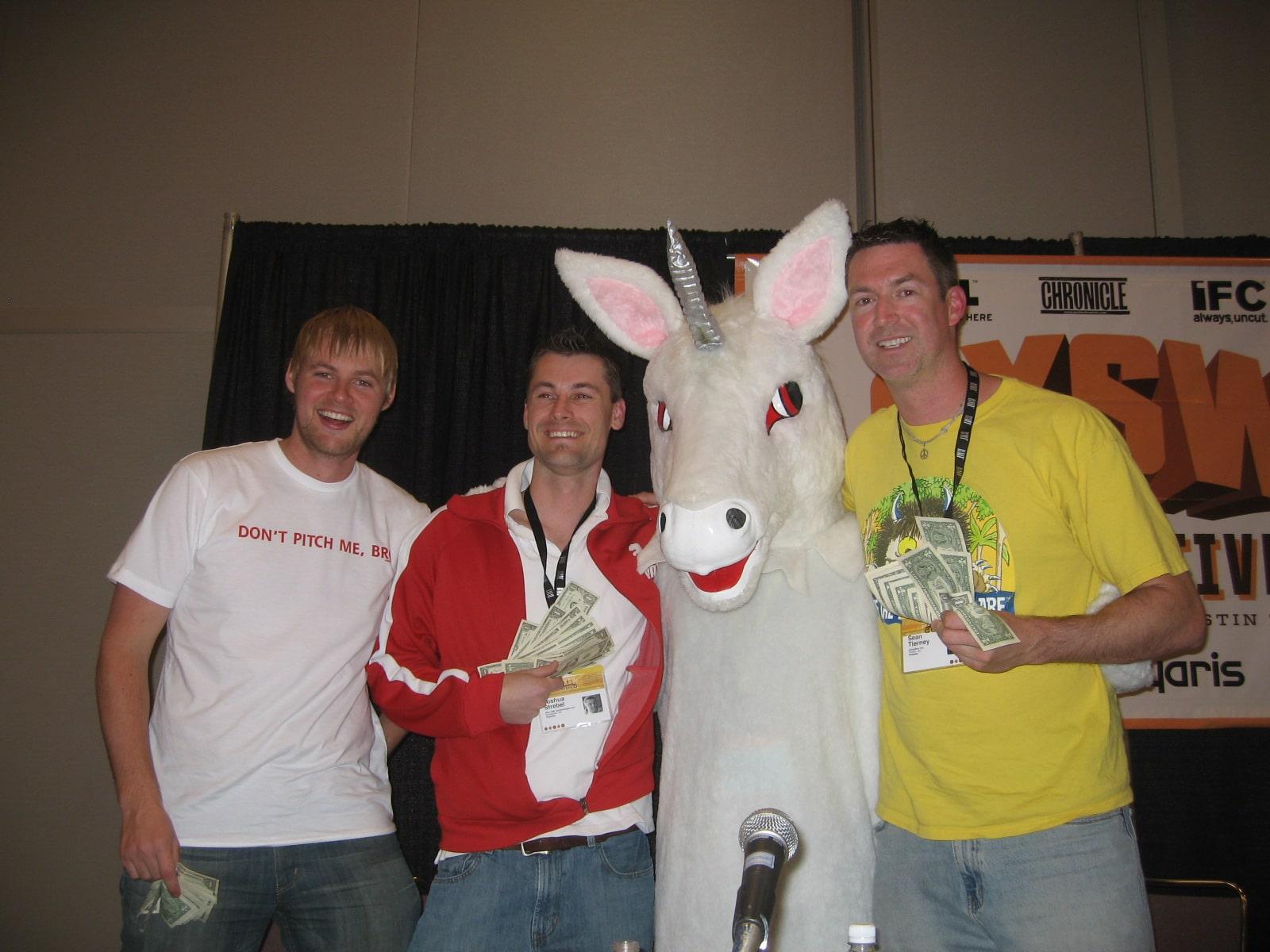 Andrew Hyde, Josh Strebel the Unicorn and Sean Tierney at SXSW 2008